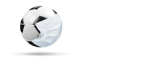 Euro voetbal annulering evenement concept. bal met coronavirusmasker