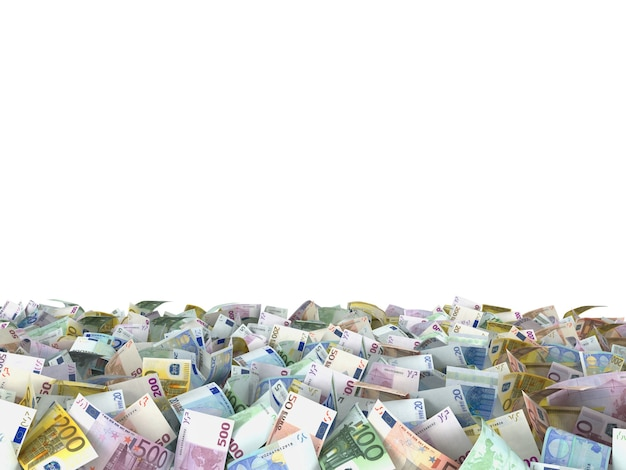 Eurobiljetten op de grond op witte achtergrond