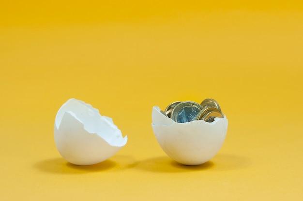 Euromunten in een gebroken geïsoleerd ei