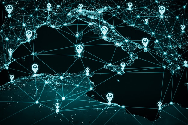 Europa-mensennetwerk en internationale verbinding in innovatieve perceptie