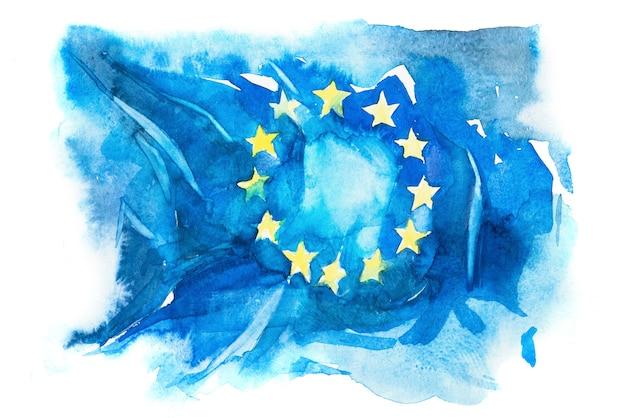 Europa, vlag van de europese unie. hand getekende aquarel illustratie.