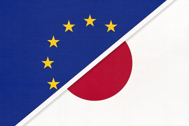 Europese unie of eu en japan symbool van nationale vlag van textiel.