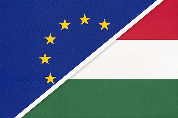 Europese unie of eu versus hongarije symbool van nationale vlag van textiel.