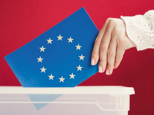 Europese unie vlag geplaatst in een doos