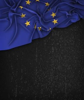 Europese vlag vintage op een grunge black chalkboard met ruimte voor tekst