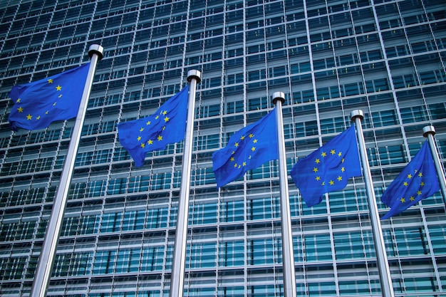 Europese vlaggen voor het berlaymont-gebouw