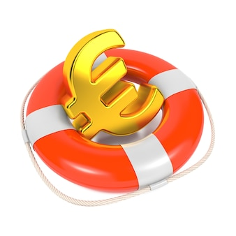 Eurosymbool in red lifebuoy op wit
