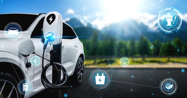 Ev-laadstation voor elektrische auto in concept van alternatieve groene energie