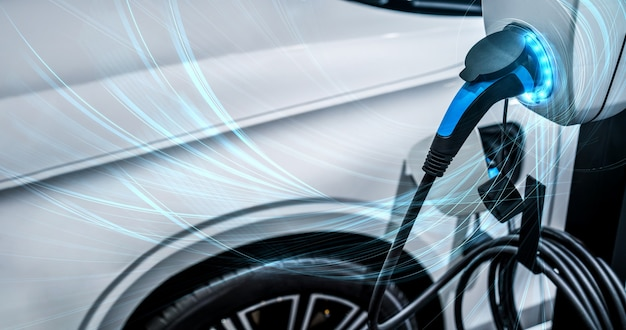 Ev laadstation voor elektrische auto in concept van groene energie en eco power
