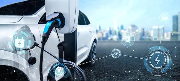 Ev-laadstation voor elektrische auto in concept van groene energie en eco-reizen