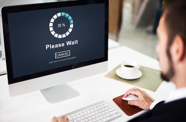 Even geduld a.u.b. laden wachtend transfer anticipatieconcept