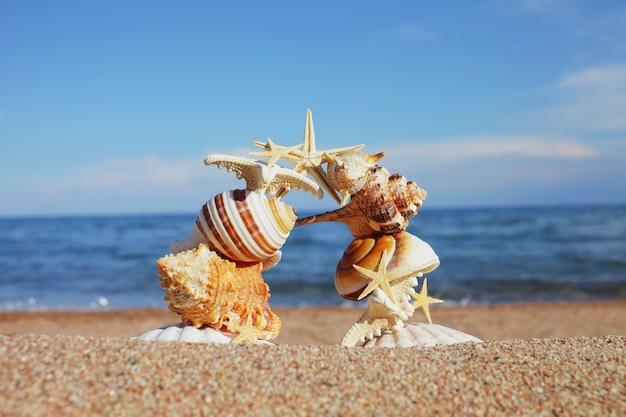Evenwichtige pijler van schelpen en sterren op het strand bij de oceaan