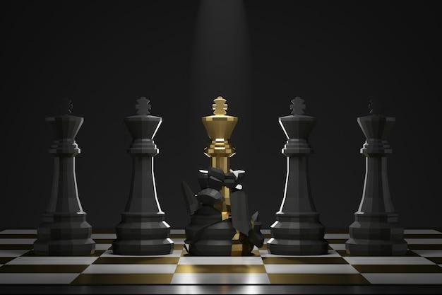 Evolutie van gouden koningsschaakstuk op donkere muur met succes of overwinningsconcept. ontwikkeling voor een beter potentieel. 3d-weergave.