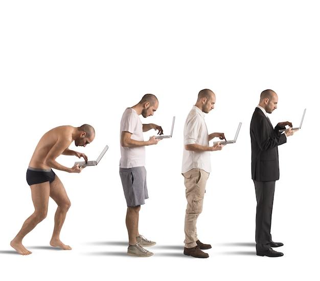 Evolutie van kromme man tot succesvolle man