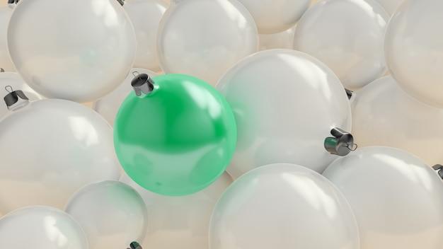 Ew jaarbal van tiffany-kleur over de achtergrond van witte ballen. 3d-weergave.