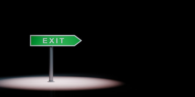 Exit directional arrow road sign in the spotlight isolated