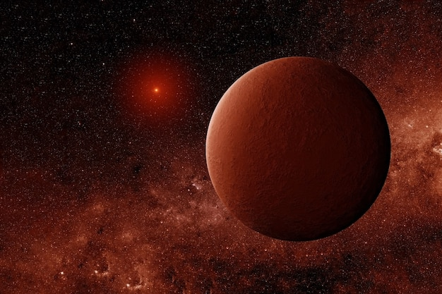 Exoplaneet in rode kleuren. elementen van deze afbeelding zijn geleverd door nasa. hoge kwaliteit foto