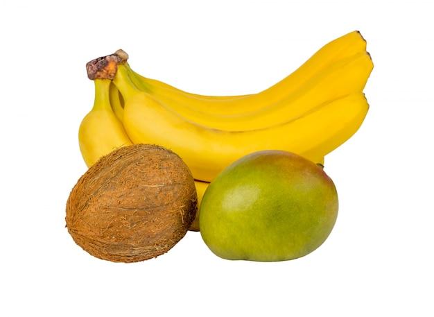 Exotisch fruit: mango, bananen, geïsoleerde kokosnoot