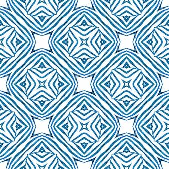 Exotisch naadloos patroon. blauw betoverend boho chic zomerontwerp. zomer exotische naadloze grens.