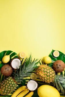 Exotische ananas, rijpe kokosnoten, banaan, meloen, citroen, tropische palm en groene monsterabladeren