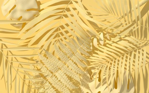 Exotische planten in pastelgele verf. tropische indeling. muur met geschilderde bladeren. minimale jungle concept art. 3d-weergave.