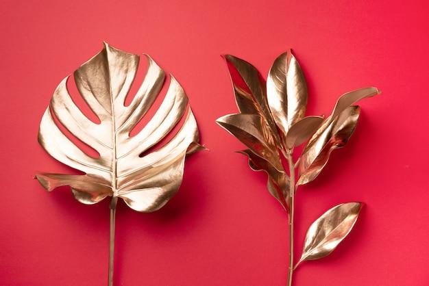 Exotische zomertrend in minimalistische stijl. gouden tropische palm monstera blad