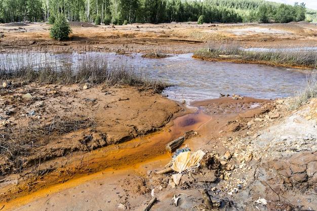 Experts analyseren het water in een vervuilde omgeving.