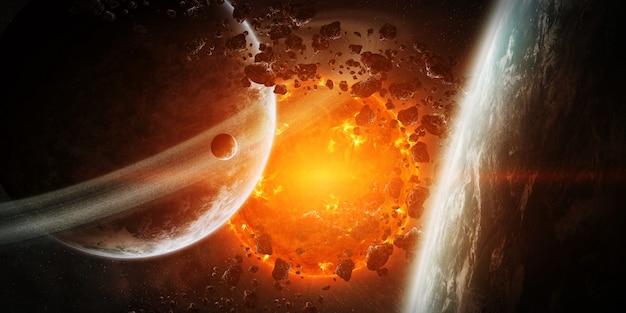 Exploderende zon in de ruimte dicht bij de planeet