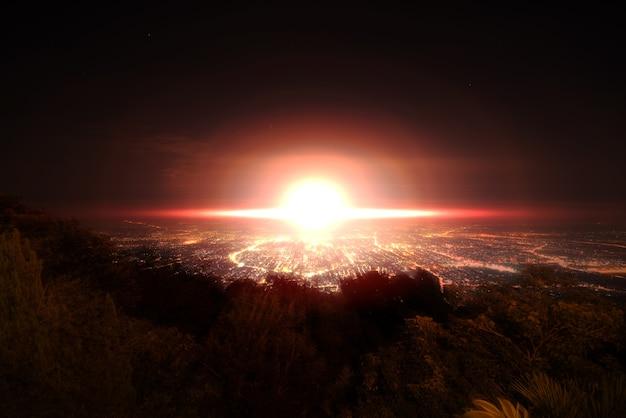 Explosie van atoombom over stad
