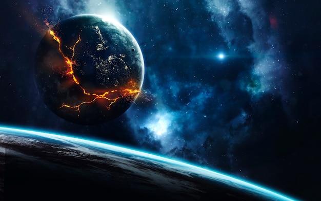 Explosie van de planeet in de ruimte