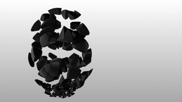 Explosie van de zwarte bol. abstracte zwarte explosie. geometrische achtergrond