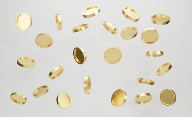 Explosie van gouden munten op witte achtergrond. jackpot of casino por concept. 3d-weergave.