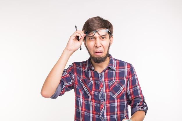 Expressie en gebaar concept - knappe man met verrast gezicht