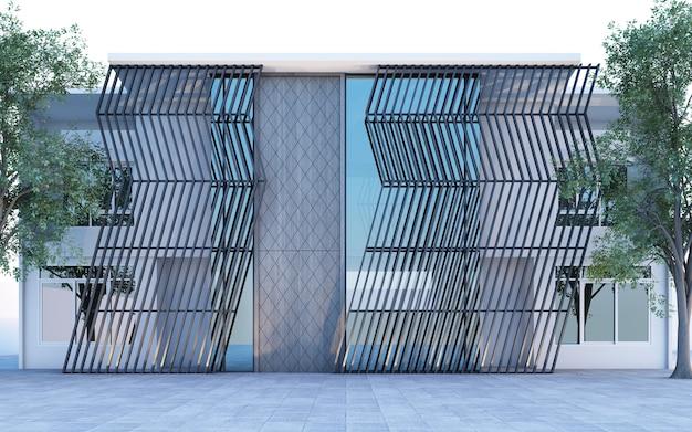 Exterieur frlokale boetiekresidentie versierd met polymeerpaneelstructuren en architectuur en gevelontwerp