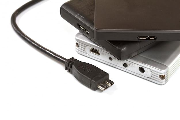 Externe harde schijf met usb-kabel