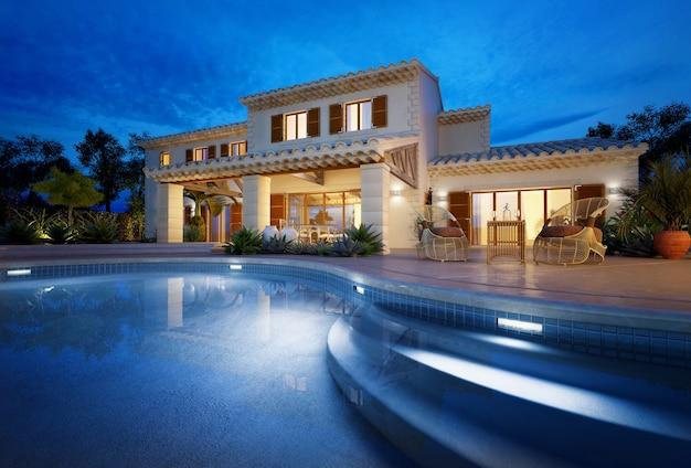Externe weergave van een modern huis met zwembad in de schemering