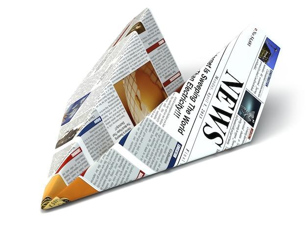 Extra nieuwsconcept krant als papieren vliegtuigje 3d