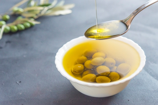 Extra vierge olie met olijfolie