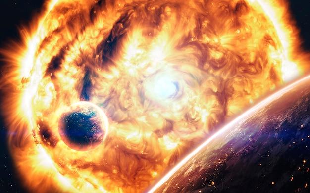 Extreem hete ster. vloeibaar plasma. science fiction ruimtebehang, ongelooflijk mooie planeten, sterrenstelsels, donkere en koude schoonheid van een eindeloos universum.
