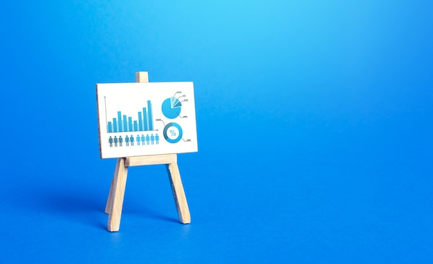 Ezel met een diagram met een positieve groeigrafiek concept van succesgroei en prestatieverbetering