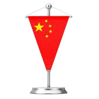 Fabric china table flag op steel spire sokkel op een witte achtergrond. 3d-rendering
