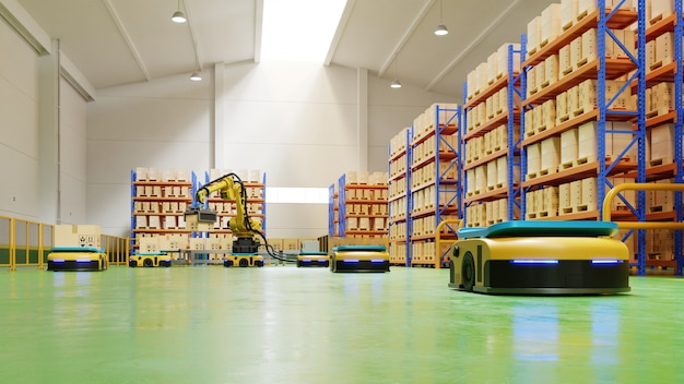 Fabrieksautomatisering met agv en robotarm in transport om transport met meer veiligheid te verhogen.
