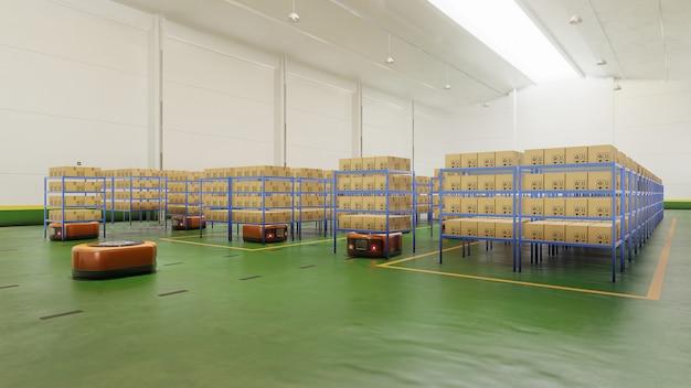 Fabrieksautomatisering met agv in transport om het transport veiliger te maken.