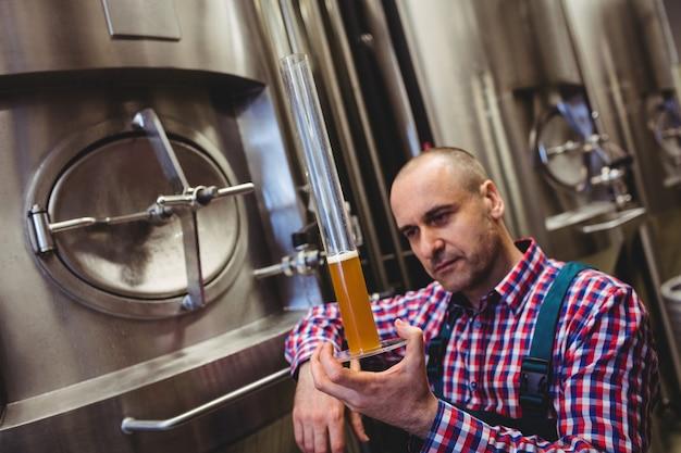 Fabrikant inspecteren bier in glazen buis