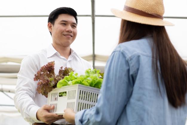 Fabrikanten sturen manden met alleen schone en hoogwaardige biologische groenten van een hydrocultuurboerderij voor consumenten met een glimlach. consumenten krijgen verse groentemanden van de hydrocultuur van de boerderij.