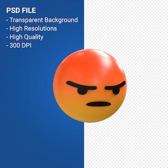Facebook 3d emoji-reacties boos geïsoleerd