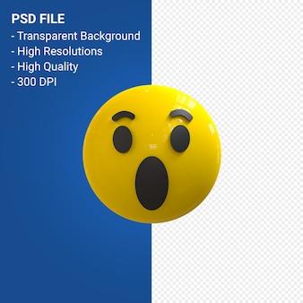 Facebook 3d emoji-reacties wow geïsoleerd