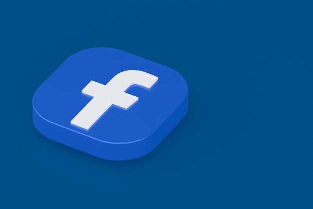 Facebook applicatie logo 3d-rendering op blauwe achtergrond