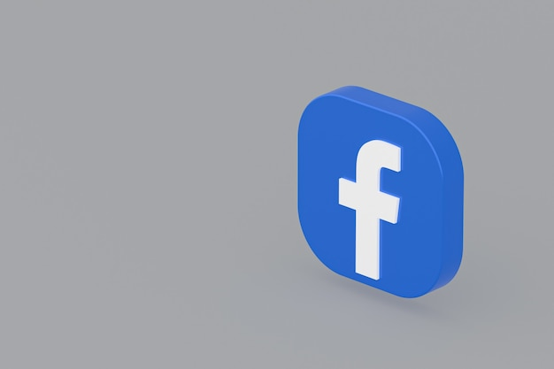 Facebook applicatie logo 3d-rendering op een grijze achtergrond