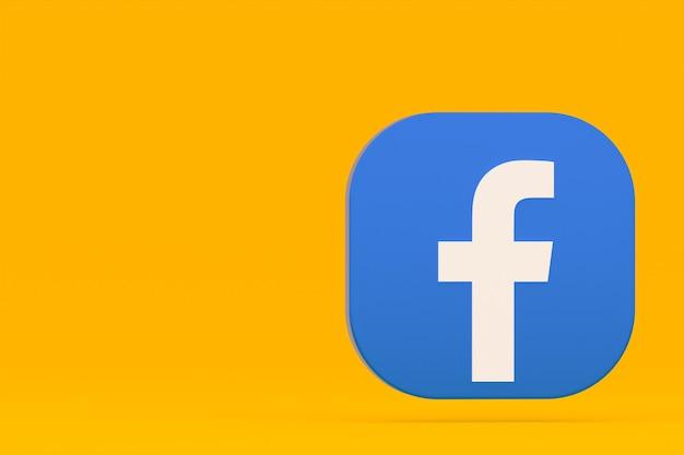 Facebook applicatie logo 3d-rendering op gele achtergrond